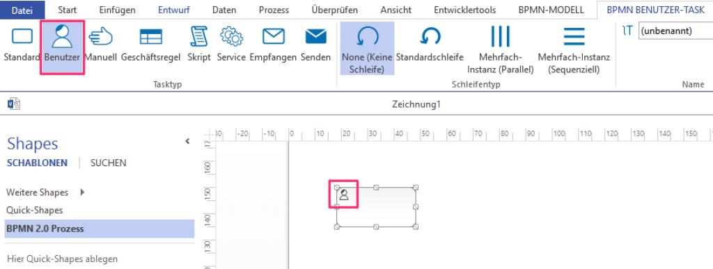 BPMN Tasktyp - Menü, Element anpassen